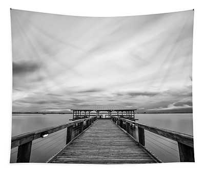 Melbourne Beach Pier Sunset Tapestry