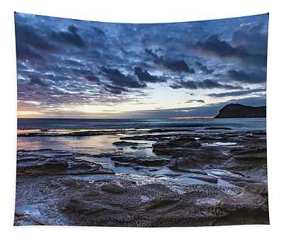 Seascape Cloudy Nightscape Tapestry