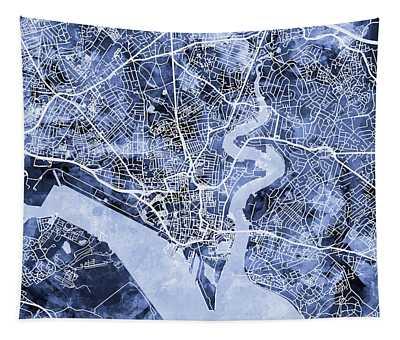 Southampton England City Map Tapestry