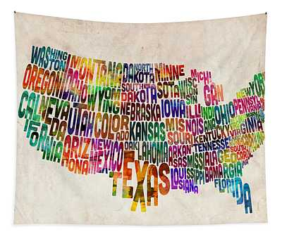 United States Text Map Tapestry by Michael Tompsett