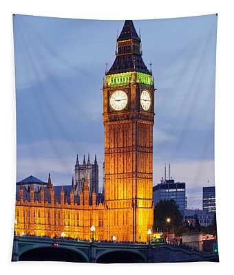 View Of Big Ben And Houses Tapestry