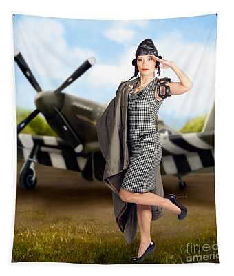 40s Military Pin Up Girl. Air Force Style Tapestry