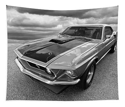 428 Cobra Jet Mach1 Ford Mustang 1969 In Black And White Tapestry