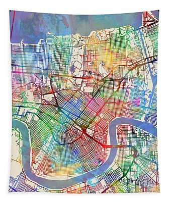 New Orleans Street Map Tapestry