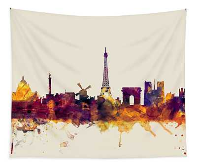 Paris France Skyline Tapestry