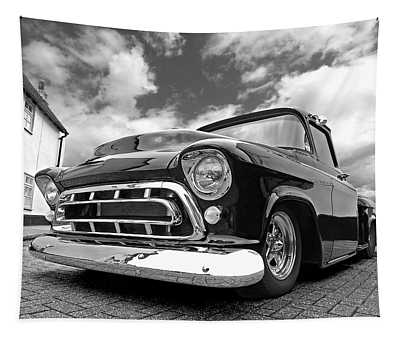 57 Stepside Chevy In Black And White Tapestry
