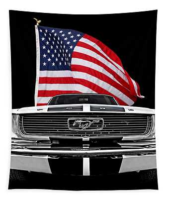 66 Mustang With U.s. Flag On Black Tapestry