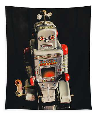 70s Mechanical Android Bot  Tapestry