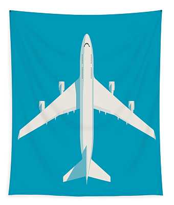 747 Jumbo Jet Airliner Aircraft - Cyan Tapestry