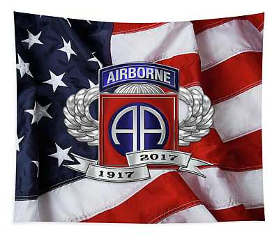 82nd Airborne Division 100th Anniversary Insignia Over American Flag  Tapestry