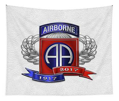 82nd Airborne Division 100th Anniversary Insignia Over White Leather Tapestry