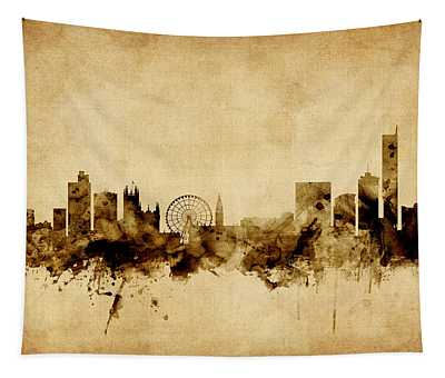 Manchester England Skyline Tapestry