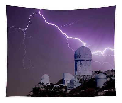 A Bolt Of Lightning Over An Observatory Tapestry