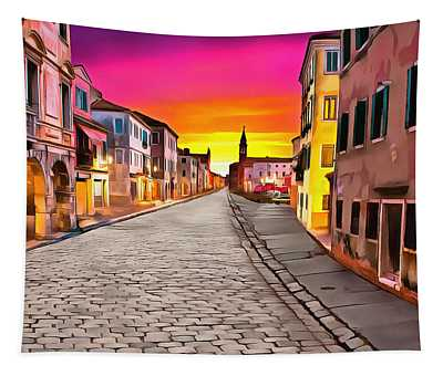 A Cobblestone Street In Venice Tapestry
