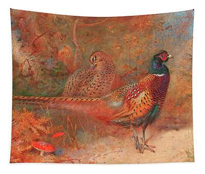 A Cock And Hen Pheasant Unframed Tapestry