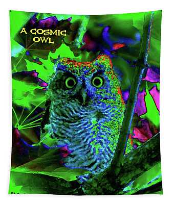 A Cosmic Owl In A Psychedelic Forest Tapestry