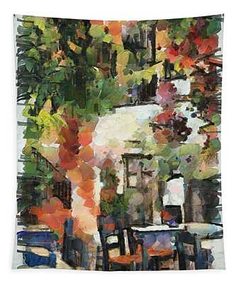 A Cozy Cafe In Greece Tapestry