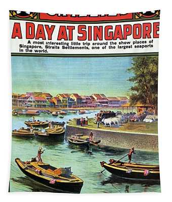 A Day At Singapore - Singapore Harbor - Retro Travel Poster - Vintage Poster Tapestry