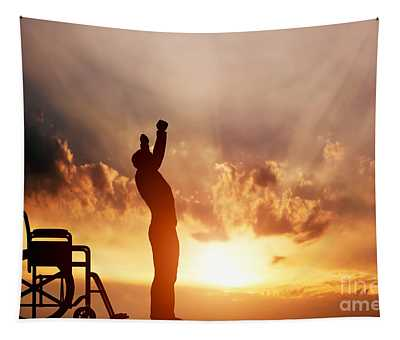 A Disabled Man Standing Up From Wheelchair Tapestry
