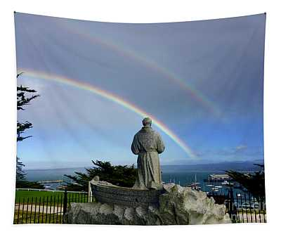 A Double Rainbow Over The  Serra Statue At Lower Presidio Of Monterey 2018 Tapestry