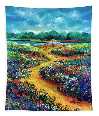 A Field Of Flowers And The Bridge Beyond Tapestry