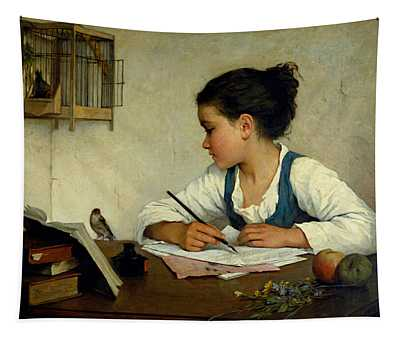 A Girl Writing. The Pet Goldfinch Tapestry
