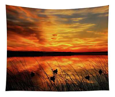 A Golden Sunrise Duck Hunt Tapestry