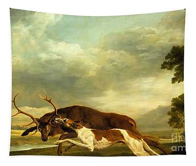 A Hound Attacking A Stag Tapestry