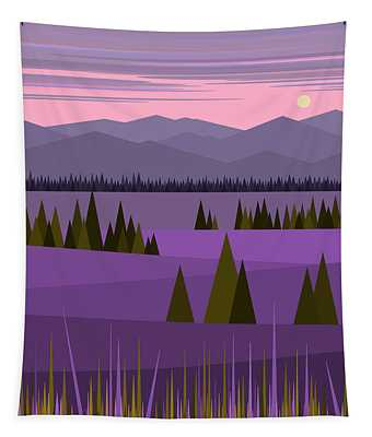 A Lake In The Mountains -  Pink Sky Tapestry