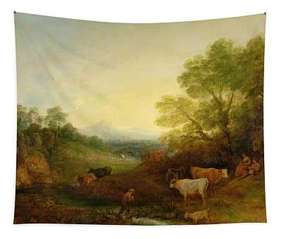 A Landscape With Cattle And Figures By A Stream And A Distant Bridge Tapestry