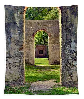 A Look Through Chapel Of Ease St. Helena Island Beaufort Sc Tapestry