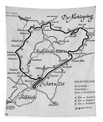 A Map Of The Nurburgring Circuit Tapestry