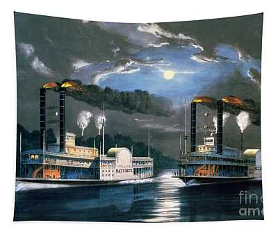 A Midnight Race On The Mississippi Tapestry