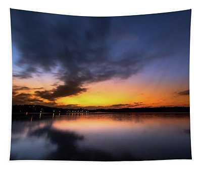 A Misty Sunset On Lake Lanier Tapestry