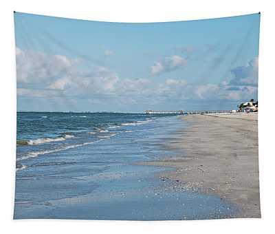 A Morning Walk On Fort Myers Beach Fort Myers Florida Tapestry