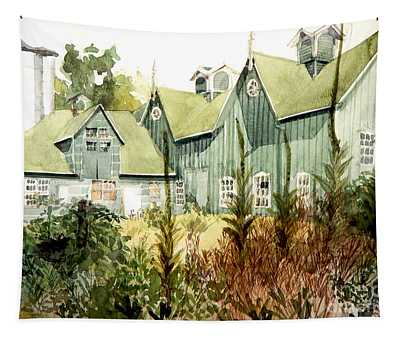 Watercolor Of An Old Wooden Barn Painted Green With Silo In The Sun Tapestry
