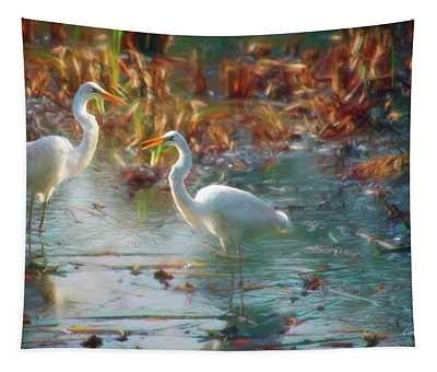 A Pair Of Snowy Egrets Tapestry