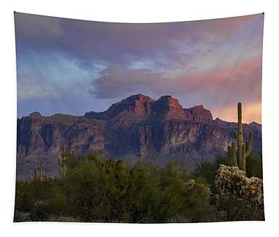 A Pink Winter Sunset At The Supes  Tapestry