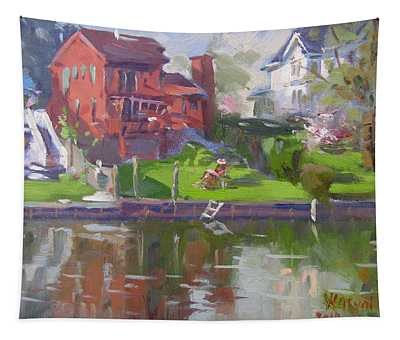 A Quiet Afternoon By The Canal Tapestry