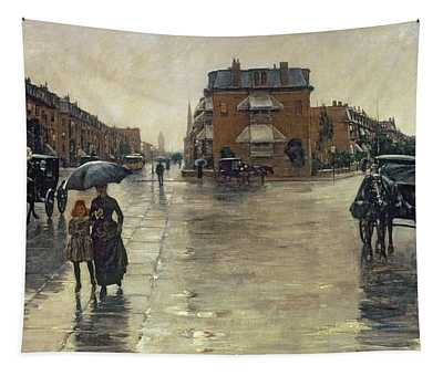 A Rainy Day In Boston Tapestry
