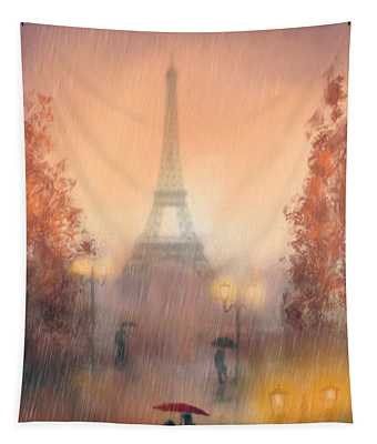 A Rainy Evening In Paris Tapestry