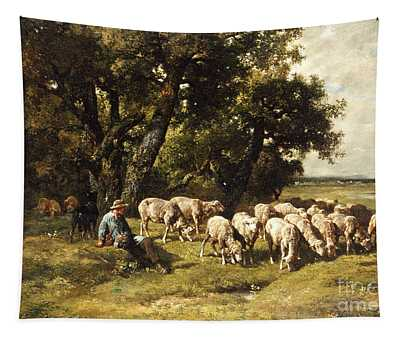 A Shepherd And His Flock Tapestry
