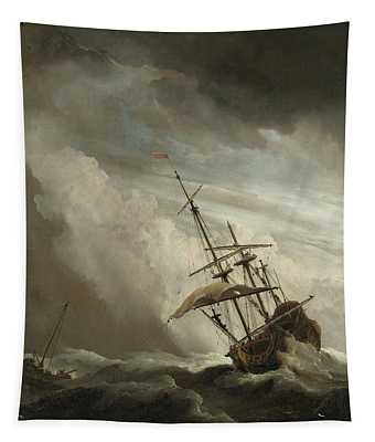 A Ship On The High Seas Caught By A Squall Tapestry