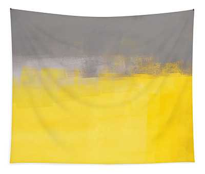 A Simple Abstract - Grey And Yellow Abstract Art Painting Tapestry
