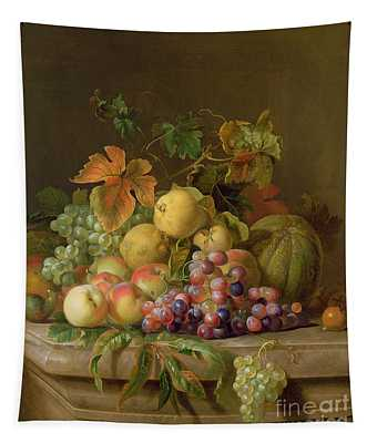 A Still Life Of Melons Grapes And Peaches On A Ledge Tapestry