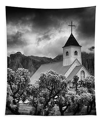 A Stormy Desert Afternoon In Black And White  Tapestry