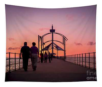 A Stroll Along Sunset Pier Tapestry