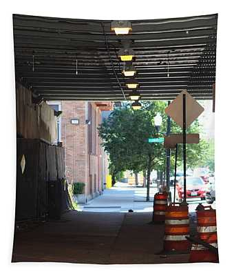 A Typical Sidewalk In Chicago Tapestry