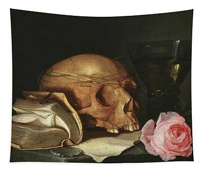 A Vanitas Still Life With A Skull, A Book And Roses Tapestry