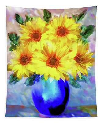 A Vase Of Sunflowers Tapestry